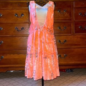 Peach coral pattern beach cover up dress NWOT OS